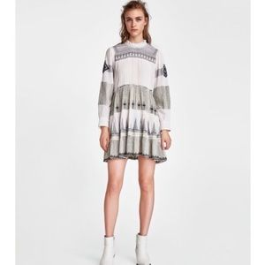 ISO zara mini dress with contrasting embroidery
